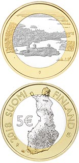 5 euro coin Olavinlinna Castle and Lake Pihlajavesi | Finland 2018