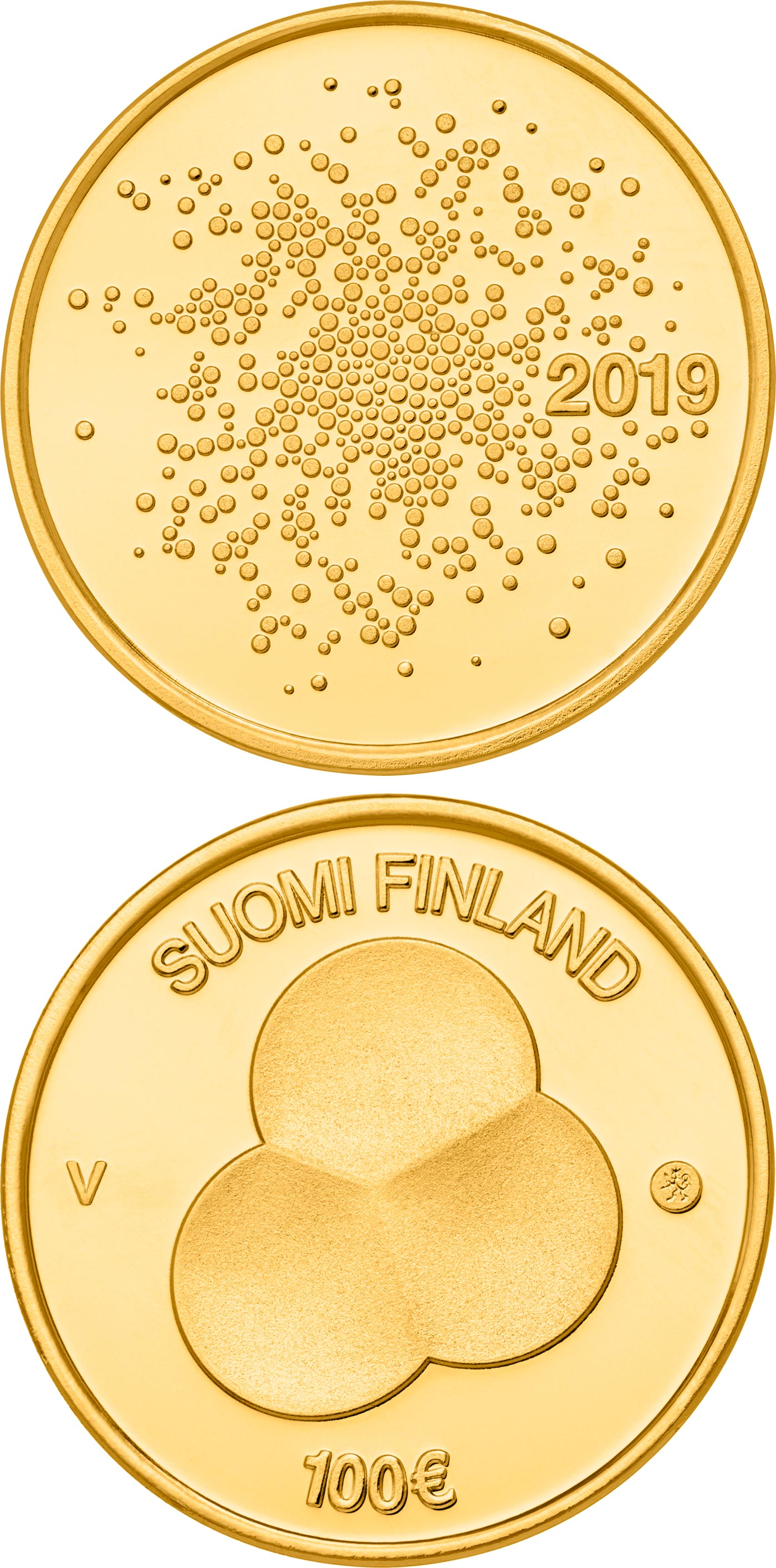 Image of 100 euro coin - Constitution Act of Finland 1919 | Finland 2019.  The Gold coin is of Proof quality.