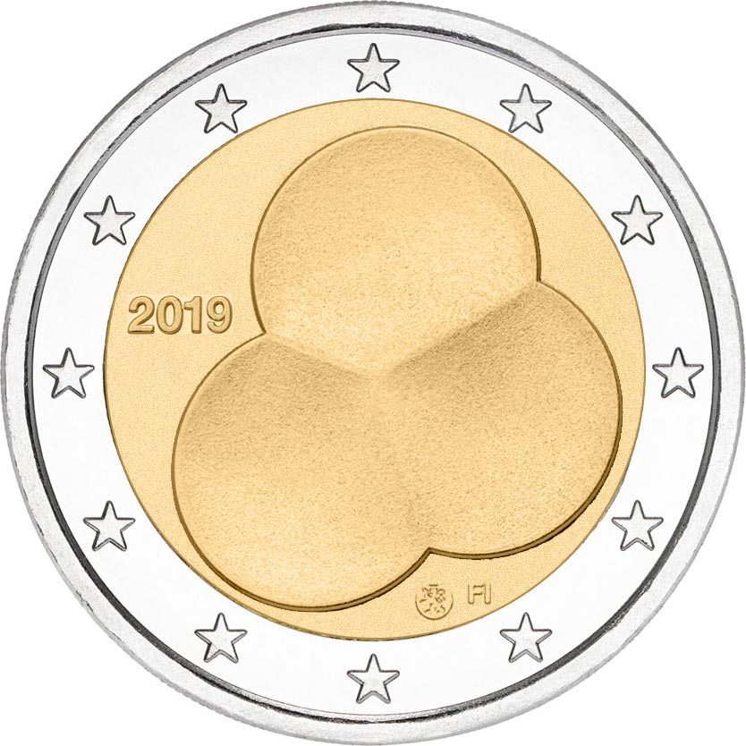 Image of 2 euro coin - Constitution Act of Finland 1919 | Finland 2019