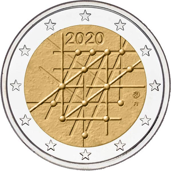 Image of 2 euro coin - 100 Years of the University of Turku | Finland 2020
