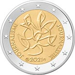2 euro coin Journalism and free press supporting Finnish democracy | Finland 2021