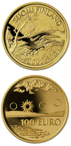 Image of 100 euro coin - First Finnish Gold Euro  | Finland 2002.  The Gold coin is of Proof quality.