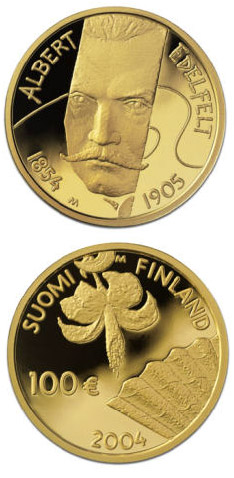 Image of 100 euro coin – Albert Edelfelt and painting  | Finland 2004.  The Gold coin is of Proof quality.