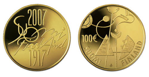 Image of 100 euro coin – Independent Finland 90 years  | Finland 2007.  The Gold coin is of Proof quality.