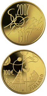 100 euro coin Independent Finland 90 years  | Finland 2007