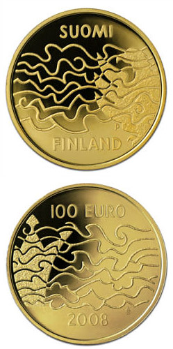 Image of The Finnish War and the Birth of Autonomy  – 100 euro coin Finland 2008.  The Gold coin is of Proof quality.