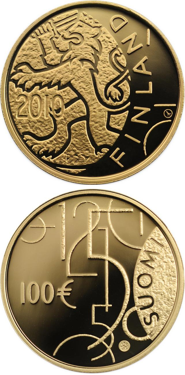 Image of 100 euro coin - Finnish currency 150 years  | Finland 2010.  The Gold coin is of Proof quality.