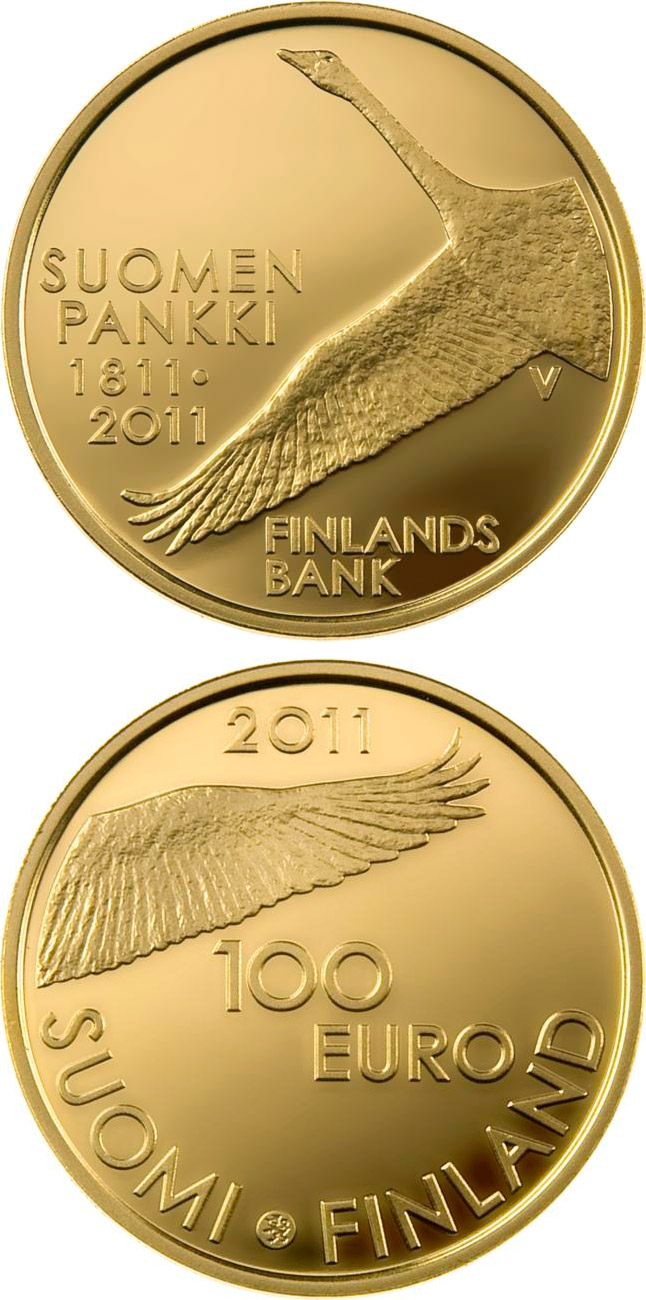 Image of Bank of Finland 200 years  – 100 euro coin Finland 2011.  The Gold coin is of Proof quality.
