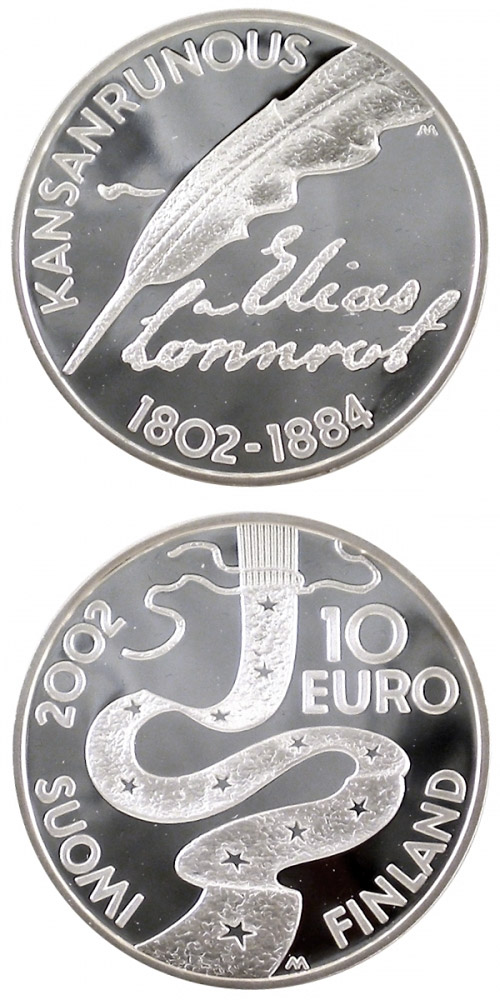 Image of 10 euro coin - Elias Lönnrot and folklore  | Finland 2002