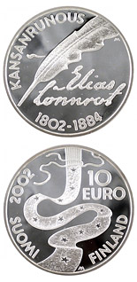 10 euro coin Elias Lönnrot and folklore  | Finland 2002