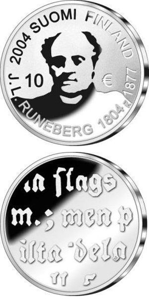 Image of a coin 10 euro | Finland | J.L. Runeberg and Poetry  | 2004