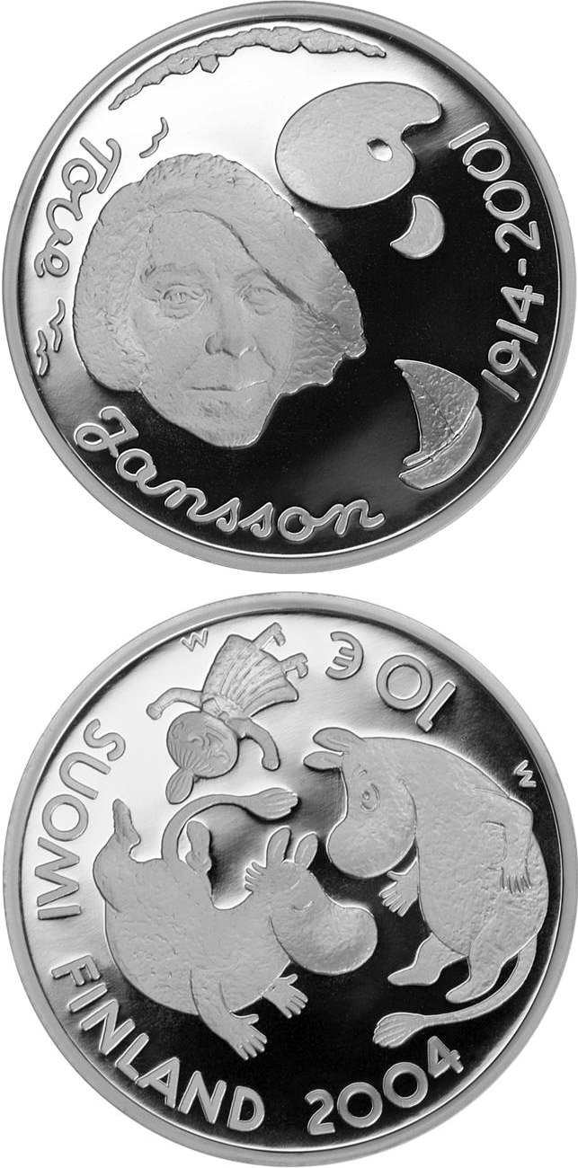 Image of 10 euro coin - Tove Jansson and children's culture  | Finland 2004