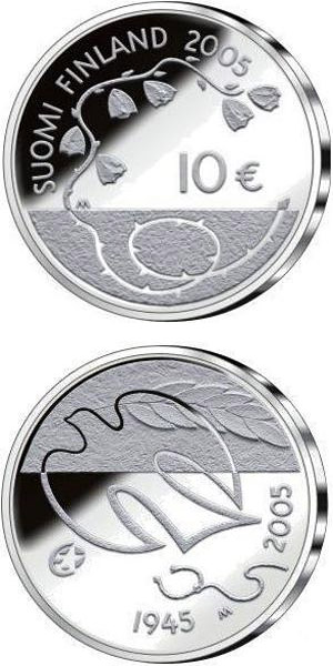 Image of a coin 10 euro | Finland | 60 Years of Peace  | 2005