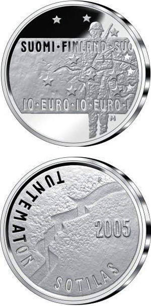 Image of a coin 10 euro | Finland | Unknown Soldier and Finnish film art  | 2005
