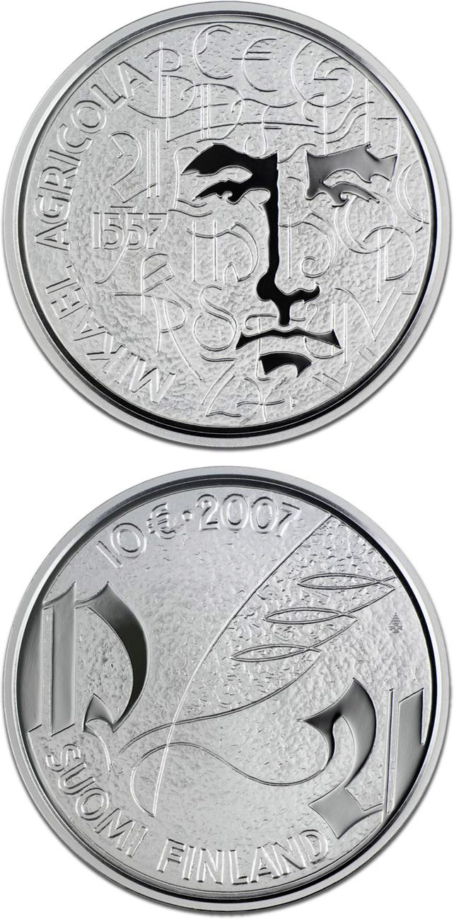 Image of a coin 10 euro | Finland | Mikael Agricola and Finnish language  | 2007