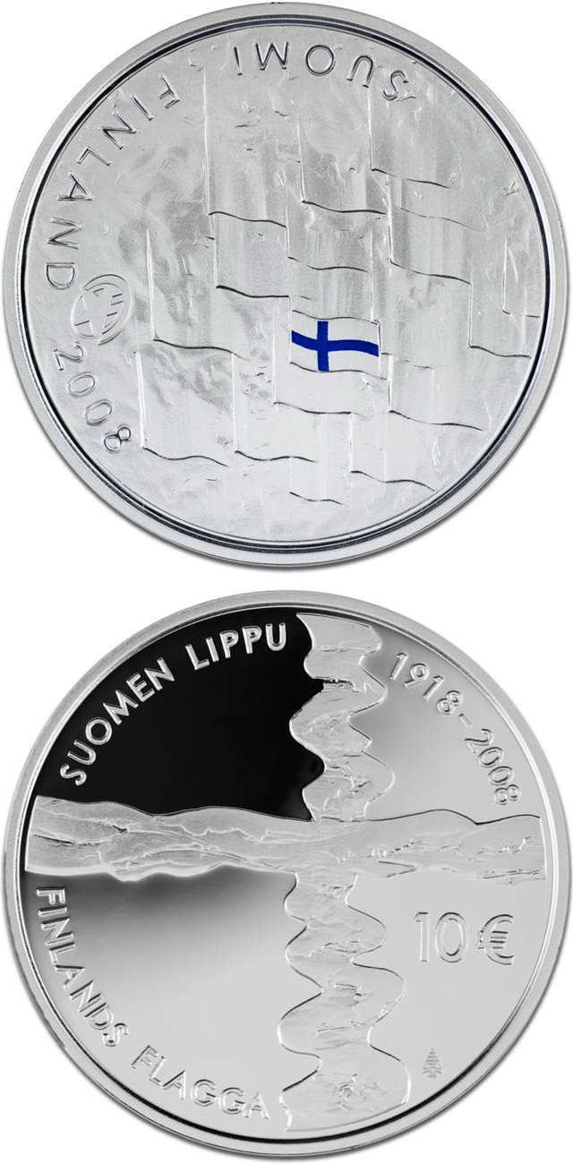 Image of 10 euro coin – Finnish flag  | Finland 2008