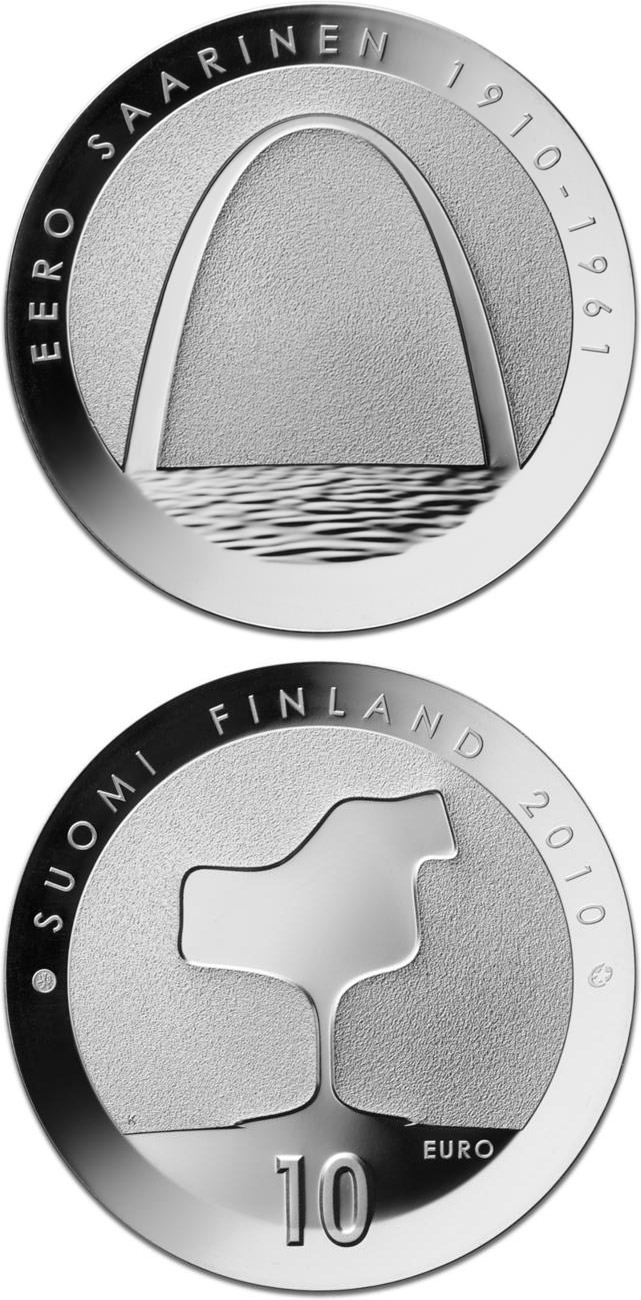 Image of a coin 10 euro | Finland | Eero Saarinen and architecture  | 2010