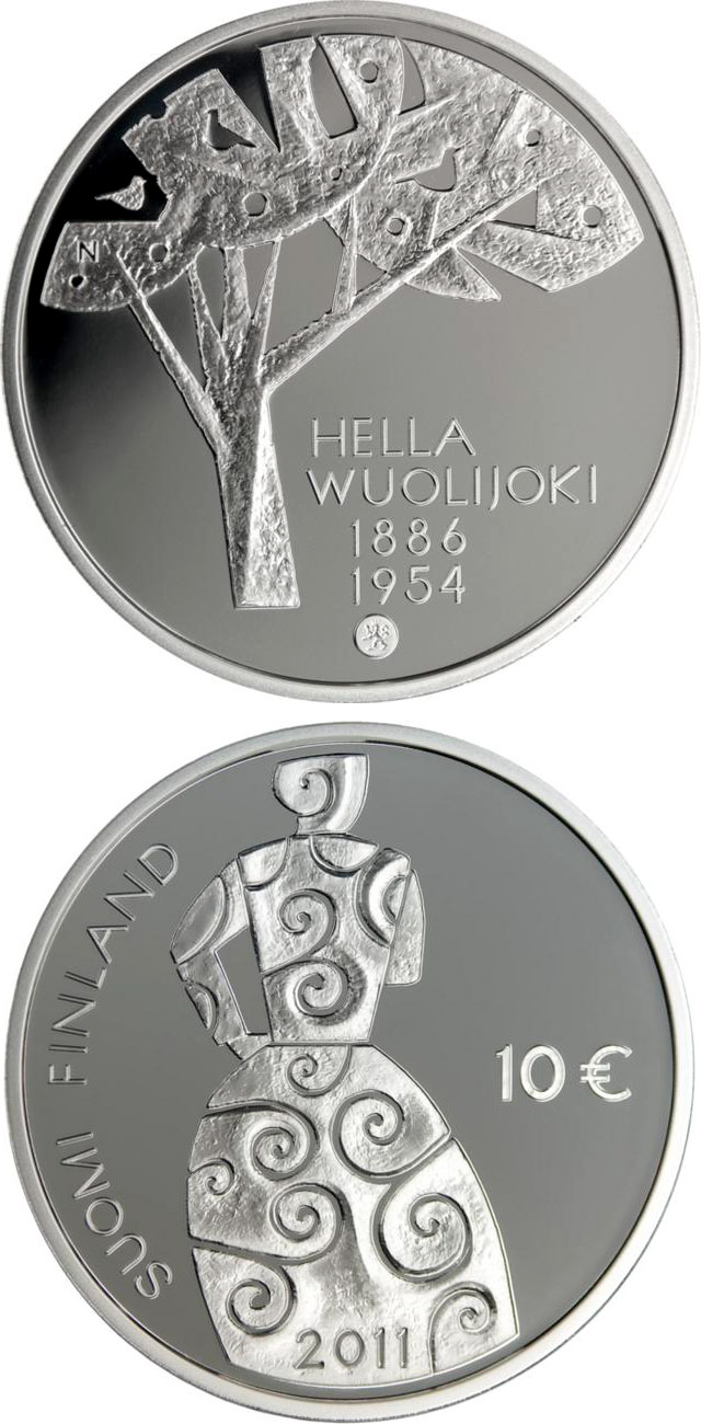 Image of 10 euro coin Hella Wuolijoki and Equality  | Finland 2011.  The Silver coin is of Proof, BU quality.