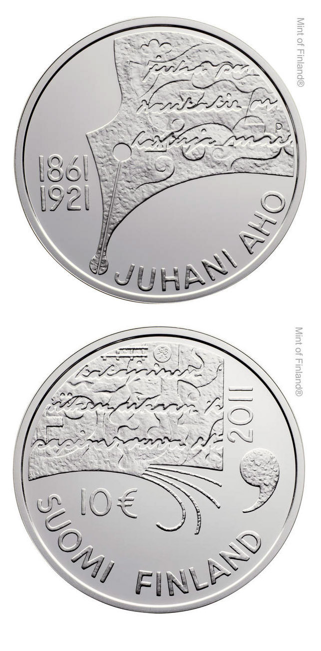 Image of 10 euro coin Juhani Aho and Finnish Literature  | Finland 2011