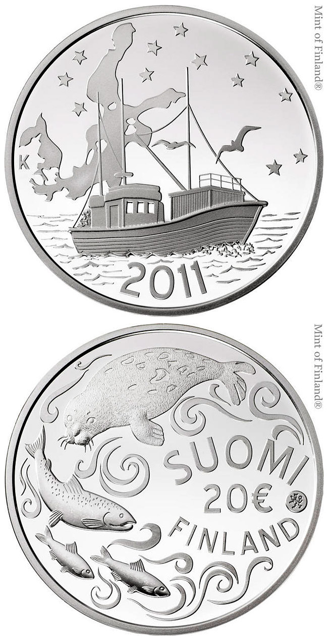 Image of 20 euro coin – Protecting the Baltic Sea | Finland 2011.  The Silver coin is of Proof, BU quality.