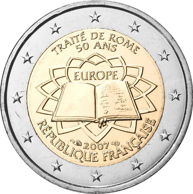 Image of 2 euro coin - 50th Anniversary of the Treaty of Rome | France 2007