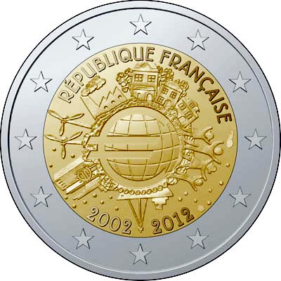 Image of 2 euro coin – Ten years of Euro  | France 2012