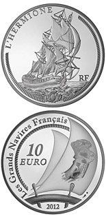 10 euro The Hermione - 2012 - Series: Great French Ships - France