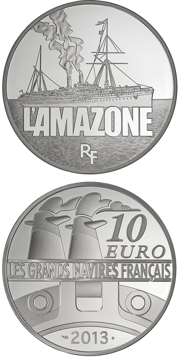 10 euro The Amazone - 2013 - Series: Great French Ships - France