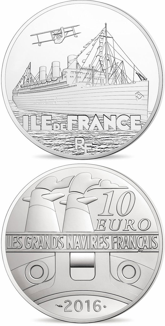 10 euro Ile de France - 2016 - Series: Great French Ships - France