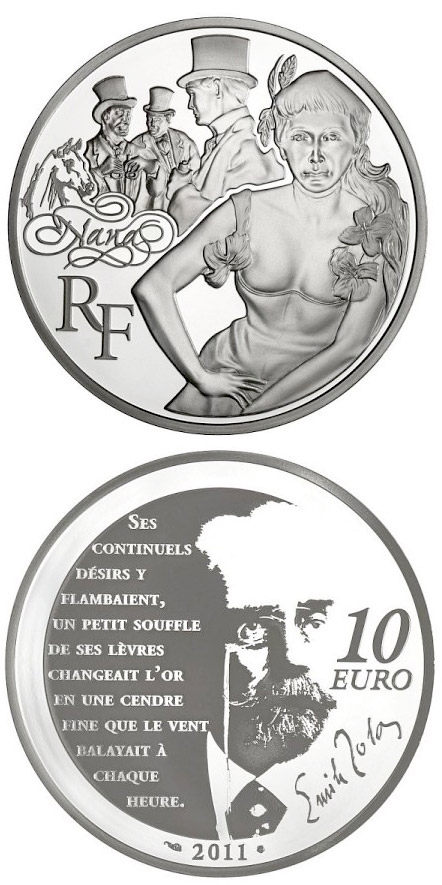 Image of 10 euro coin - Nana | France 2011.  The Silver coin is of Proof quality.