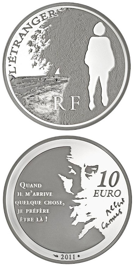Image of 10 euro coin - L'Etranger | France 2011.  The Silver coin is of Proof quality.