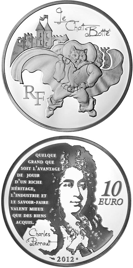 Image of 10 euro coin - Puss-in-boots | France 2012.  The Silver coin is of Proof quality.