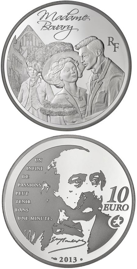 Image of 10 euro coin - Madame Bovary | France 2013.  The Silver coin is of Proof quality.