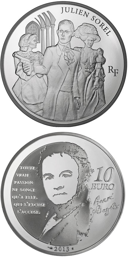 Image of 10 euro coin – Julien Sorel | France 2013.  The Silver coin is of Proof quality.
