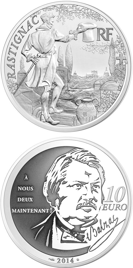 Image of 10 euro coin - Rastignac | France 2014.  The Silver coin is of Proof quality.