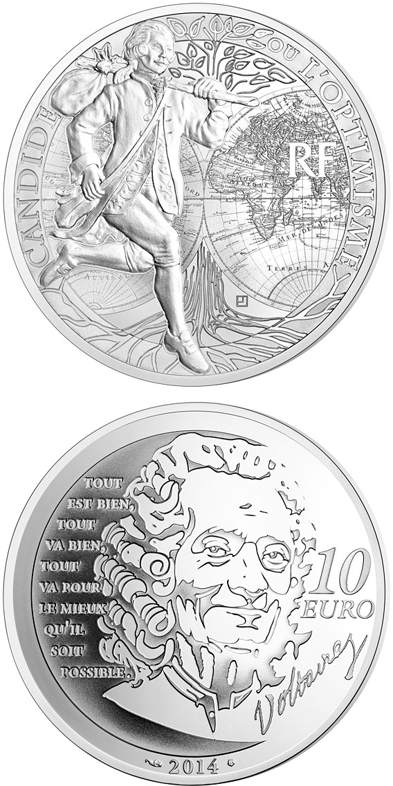 Image of 10 euro coin - Candide | France 2014.  The Silver coin is of Proof quality.