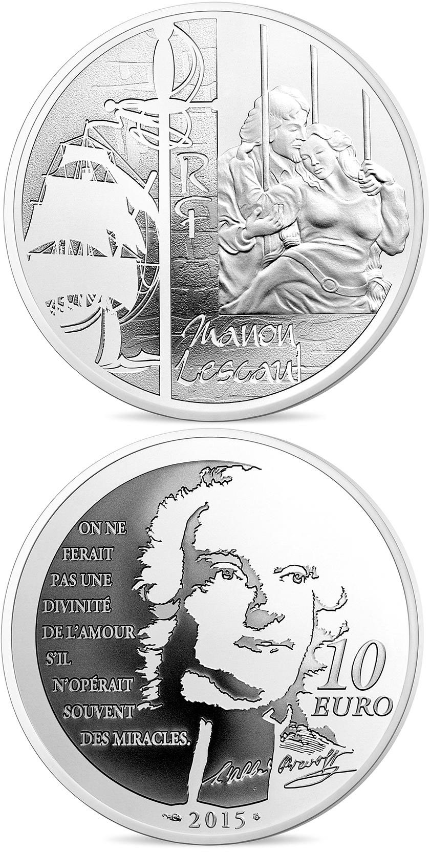 Image of 10 euro coin - Manon Lescaut | France 2015.  The Silver coin is of Proof quality.