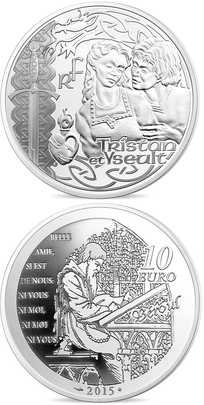 Image of 10 euro coin - Tristan and Yseut | France 2015.  The Silver coin is of Proof quality.