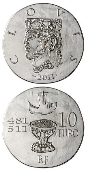 Image of 10 euro coin Clovis I | France 2011.  The Silver coin is of Proof quality.