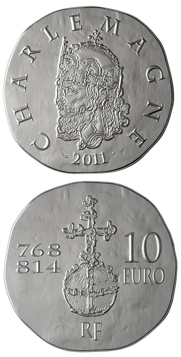 Image of 10 euro coin - Charlemagne | France 2011.  The Silver coin is of Proof quality.