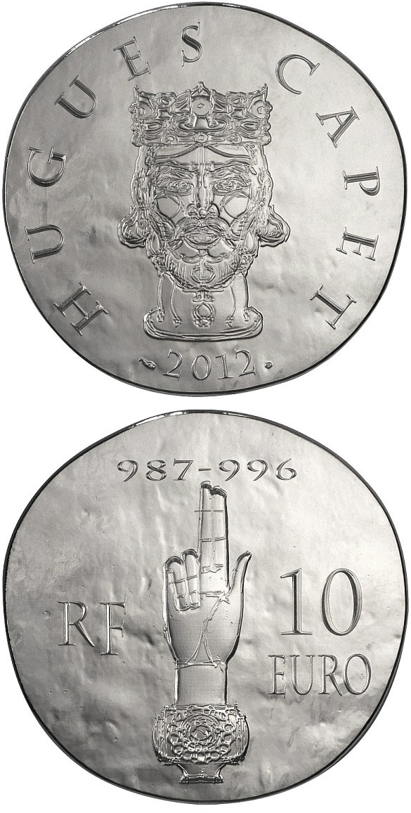 Image of 10 euro coin - Hugues Capet | France 2012.  The Silver coin is of Proof quality.