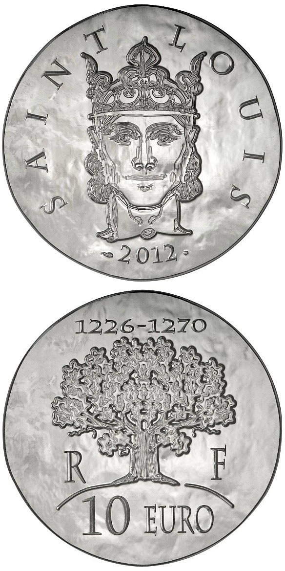 Image of Saint Louis – 10 euro coin France 2012.  The Silver coin is of Proof quality.