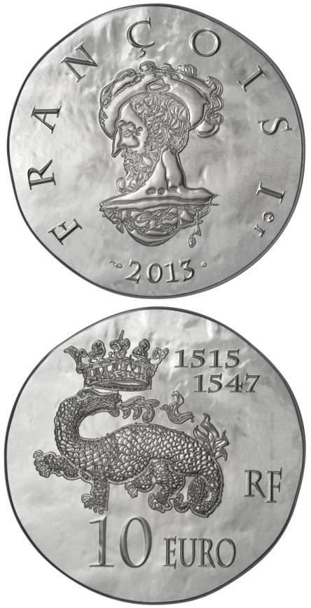 Image of 10 euro coin - François I | France 2013.  The Silver coin is of Proof quality.