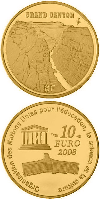 Image of a coin 10 euro | France | Grand Canyon | 2008