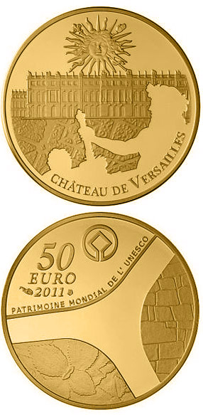 Image of 50 euro coin - Palace of Versailles | France 2011.  The Gold coin is of Proof quality.