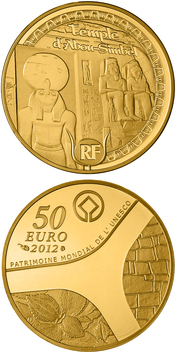 Image of 50 euro coin - Egyptian Heritage | France 2012.  The Gold coin is of Proof quality.
