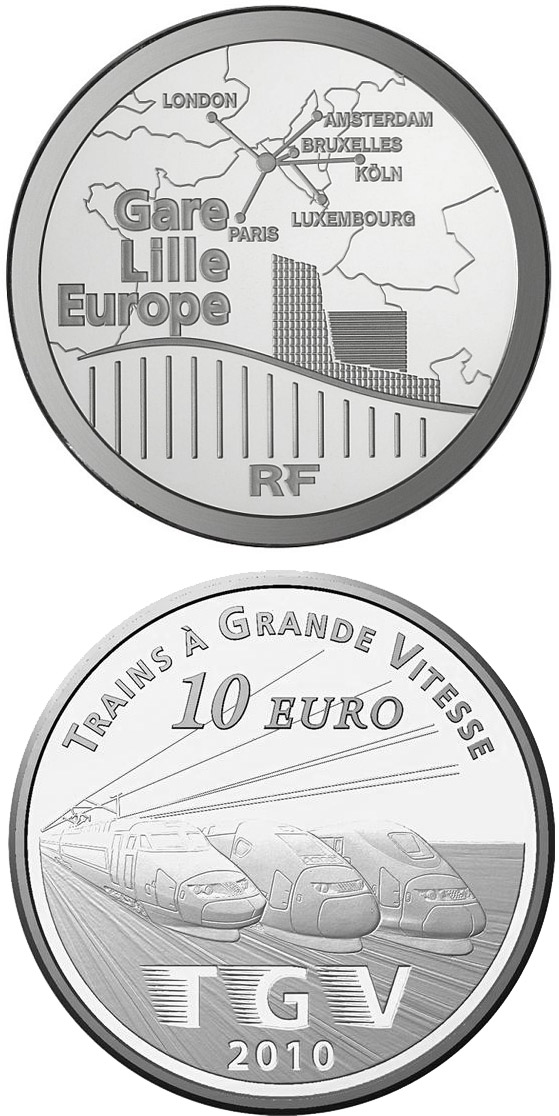10 euro Lille Europe and the TGVs - 2010 - Series: Trains of France - France