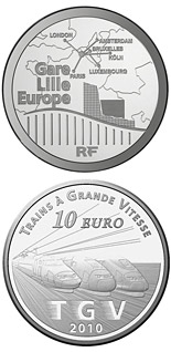 10 euro coin Lille Europe and the TGVs | France 2010