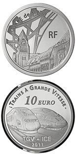 10 euro coin Metz Station, the TGV and the ICE | France 2011
