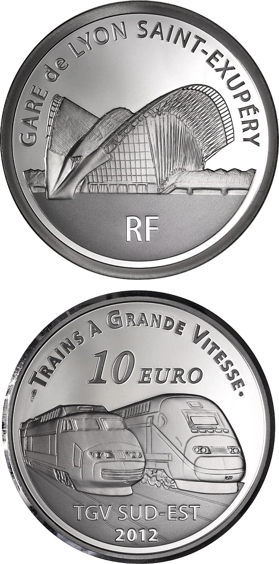 10 euro Lyon Saint-ExupérystationTGV South East and the TGV Duplex - 2012 - Series: Trains of France - France